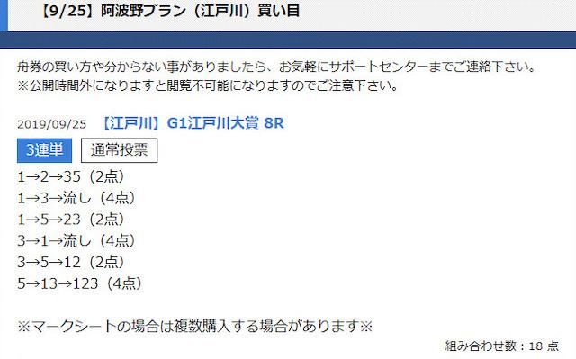 競艇ロード2019年9月25日江戸川8R予想