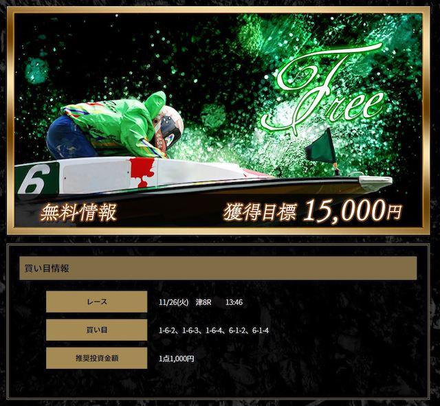 ClubGinga2019年11月26日津8R買い目