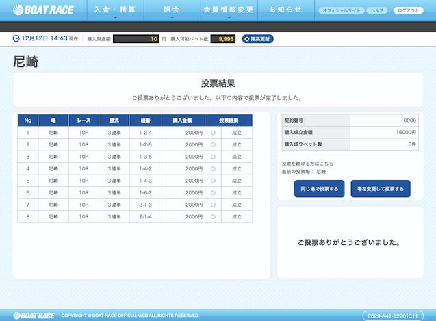 競艇道無料予想2019年12月12月G1尼崎10R舟券購入画像