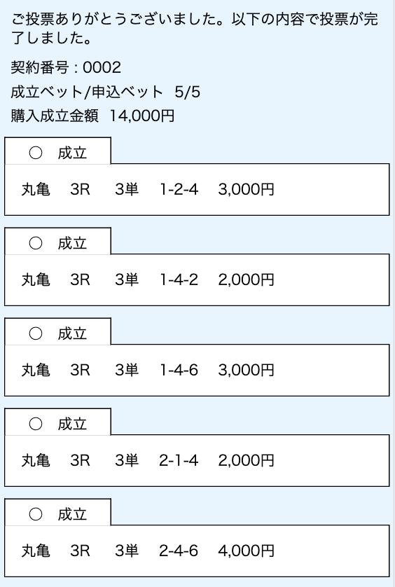 舟券購入画面