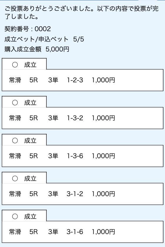 24ボート2019年03月18日無料予想舟券購入画面