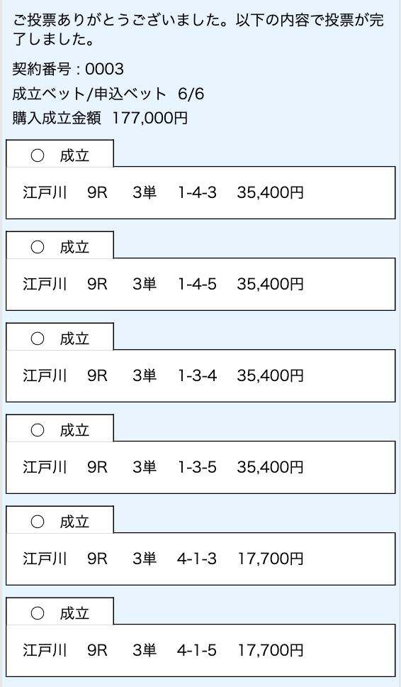 競艇ウェーブ有料予想2020年11月4日2レース目投票画面