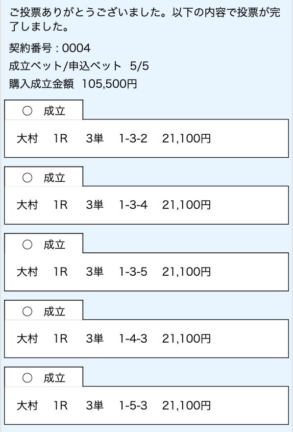 競艇ダイヤモンド有料予想舟券2レース目購入画面