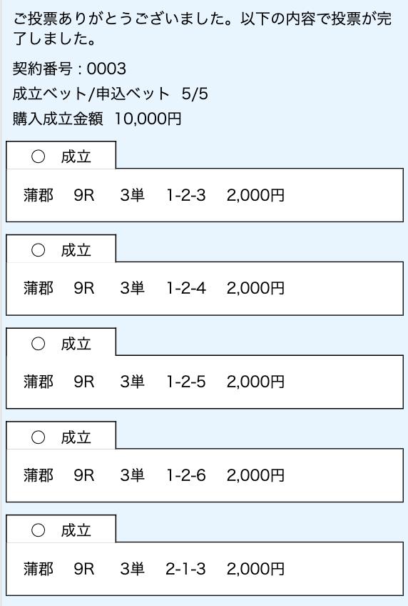 競艇インパクト有料予想舟券購入画面