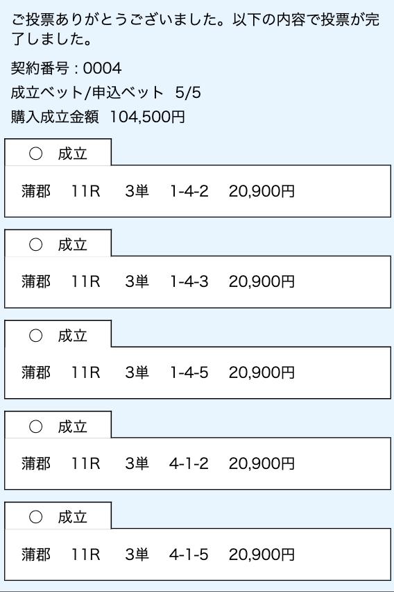競艇インパクト有料予想2レース目舟券購入画面