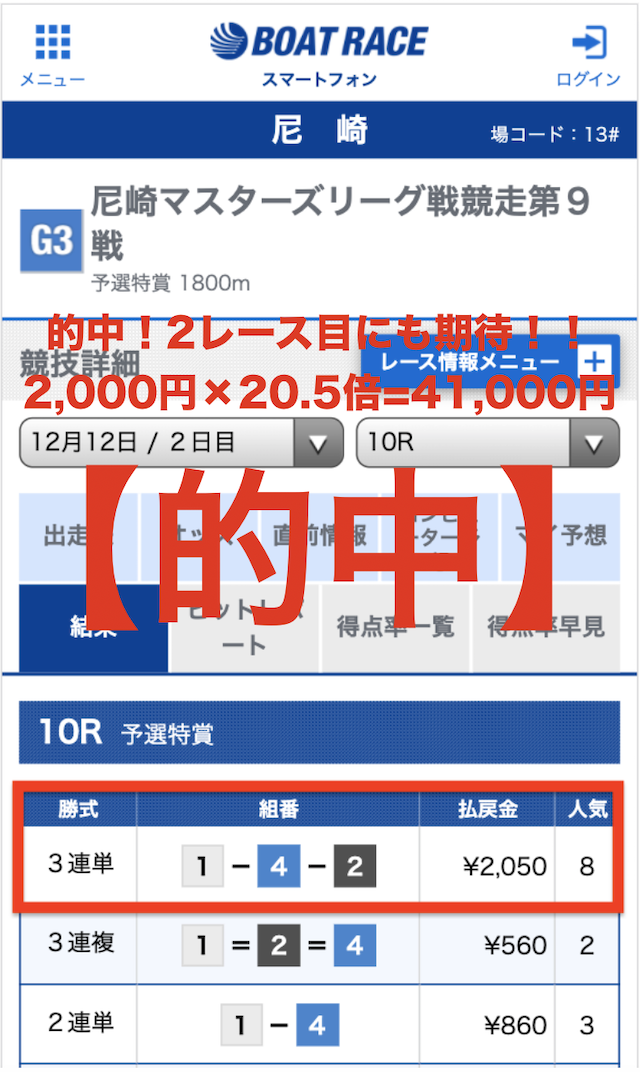競艇道有料情報1レース目2019年12月12日結果