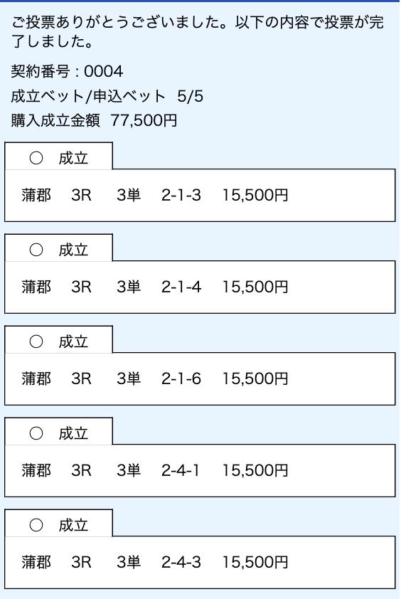 ジャックポット有料情報購入舟券2レース目