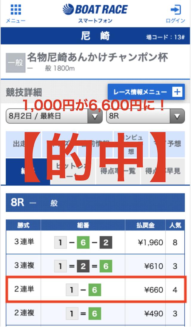 競艇ロード無料情報的中画面